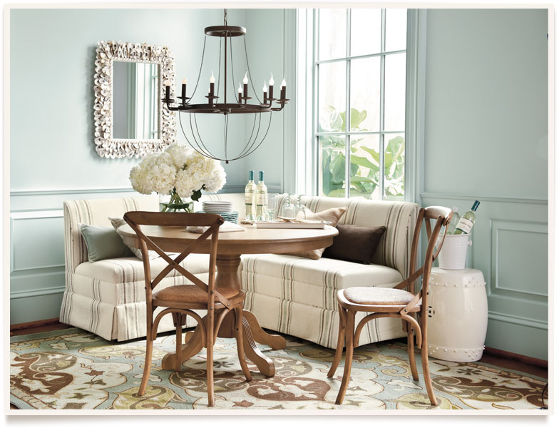 Family friendly friday breakfast room banquettes for Ballard designs bench seating