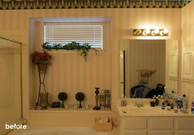 before bathroom tub area