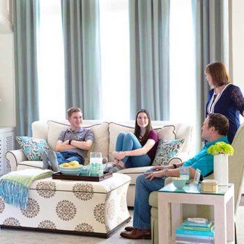 Karen and family in living room