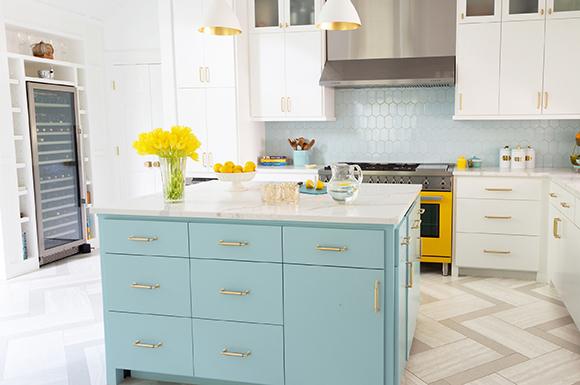 Kitchen Blue Island Marker Girl